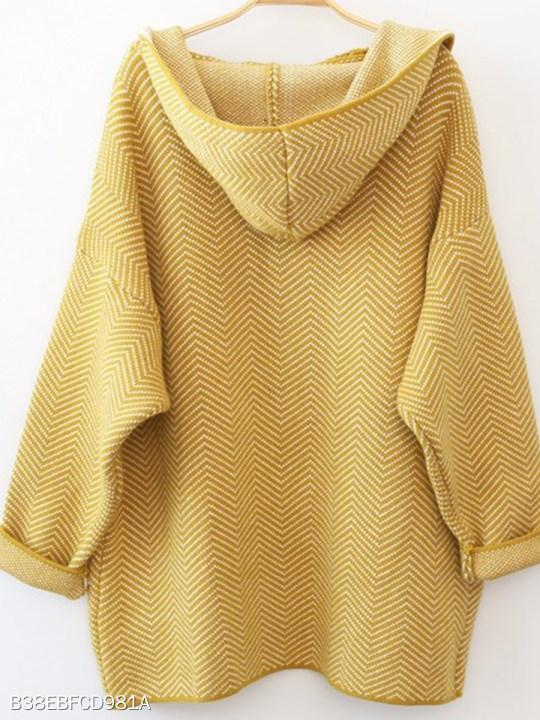 Hooded Geometric Knit Cardigans