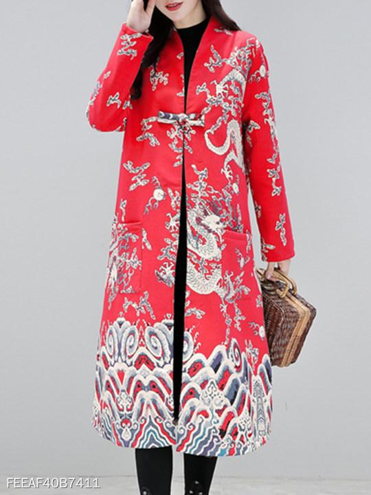 Collarless Single Button Printed Coat
