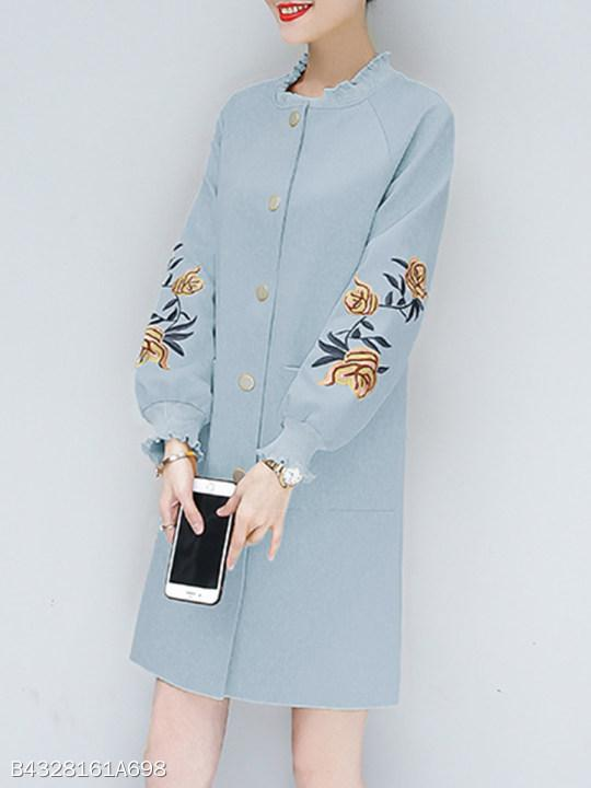 Band Collar Embroidered Embroidery Coat