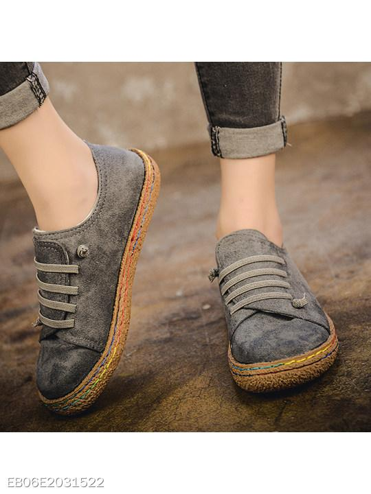 Plain Flat Elastic Round Toe Casual Flat & Loafers