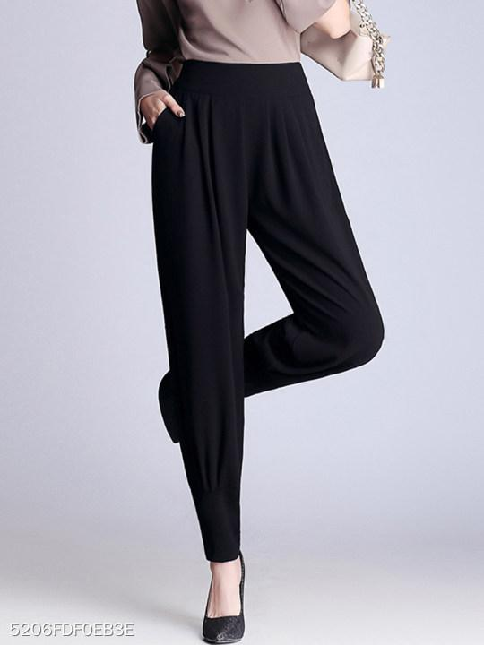 Black Elastic Waist Pocket Chiffon Casual Pegged Pants