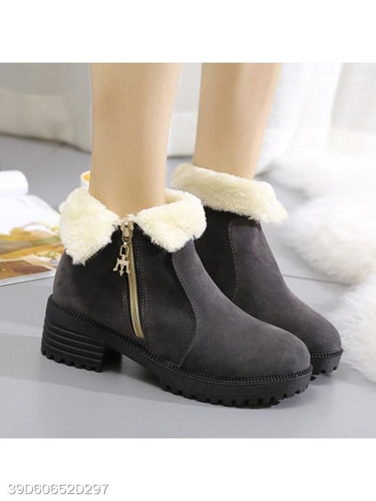 Plain Low Heeled Velvet Round Toe Casual Outdoor Short Flat Boots