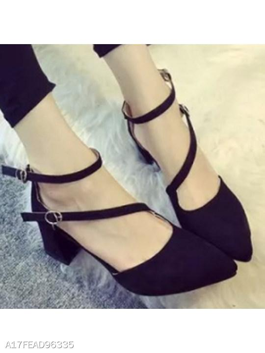 Plain Chunky High Heeled Velvet Ankle Strap Point Toe Date Office Pumps