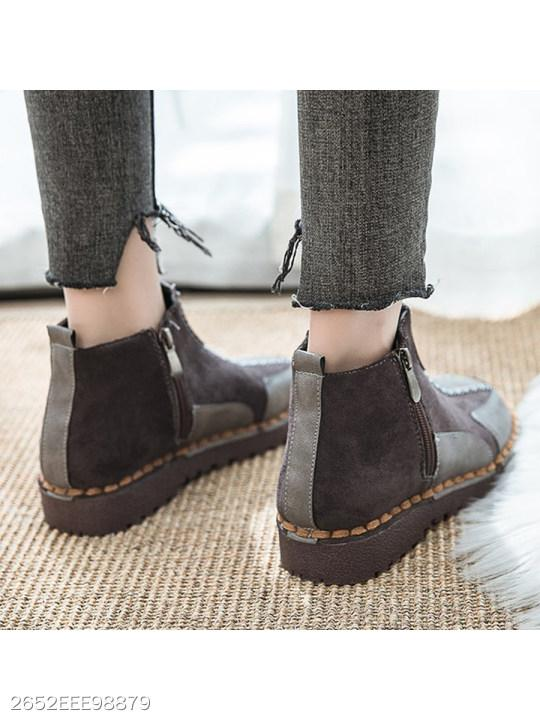 Flat Velvet Round Toe Casual Outdoor Short Flat Boots