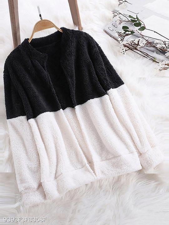 Band Collar Seamless Color Block Coat