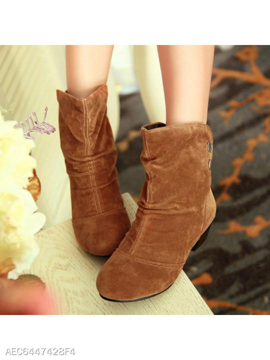 Plain Low Heeled Velvet Round Toe Date Outdoor Mid Calf High Heels Boots