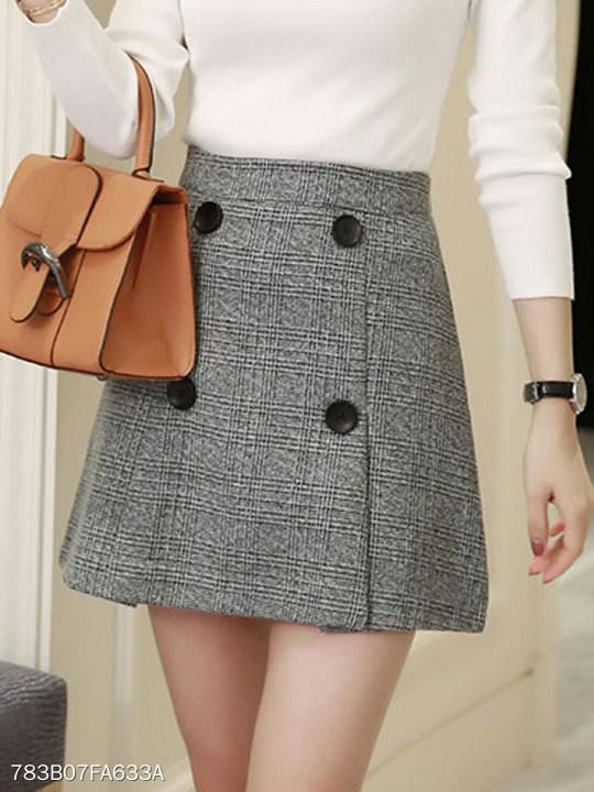 Simple Stylish Cutout Decorative Button Plaid A-Line Mini Skirts