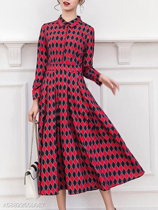 Turn Down Collar Geometric Maxi Dress