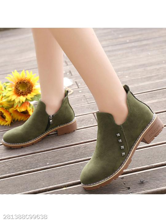 Plain Flat Velvet Round Toe Date Outdoor Ankle Ankle Boots