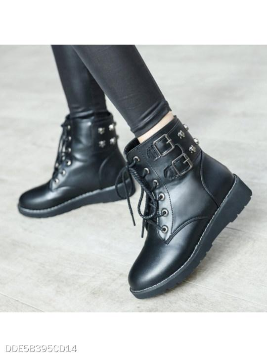 Plain Low Heeled Criss Cross Round Toe Casual Outdoor Flat Boots