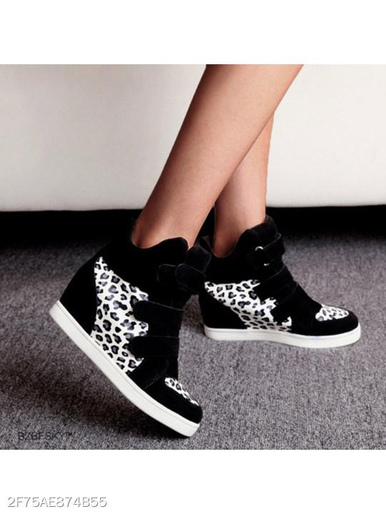 Animal Printed Invisible High Heeled Velvet Round Toe Casual Short Sneakers