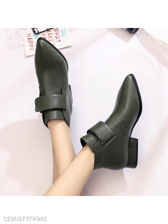 Plain Point Toe Date Outdoor Short Ankle Boots