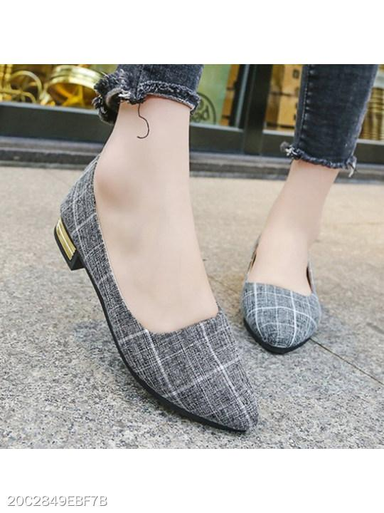 Chunky Low Heeled Point Toe Date Office Comfort Flats