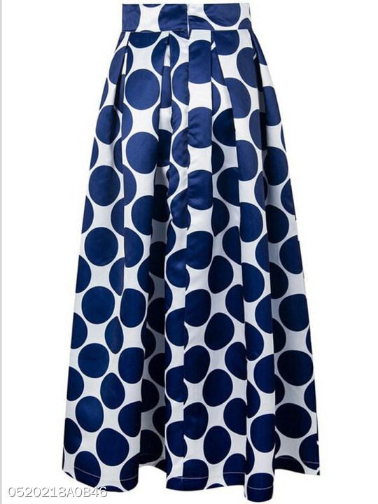 Flared Polka Dot Maxi Skirts