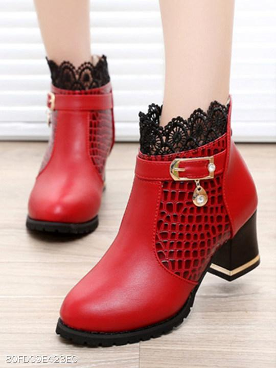 Mid Heeled Faux Leather Round Toe Casual Boots