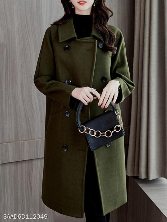 Fold Over Collar Double Breasted Plain Coat