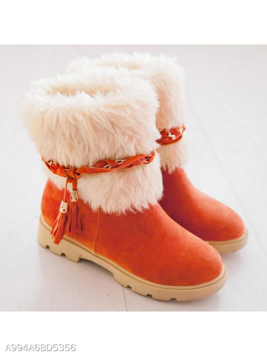 Plain Velvet Round Toe Date Outdoor Short Flat Boots
