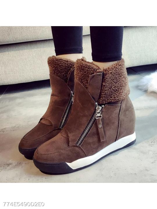Plain Invisible High Heeled Velvet Round Toe Casual Short Flat Boots