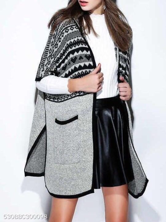 Faux Fur Collar Abstract Print Cape