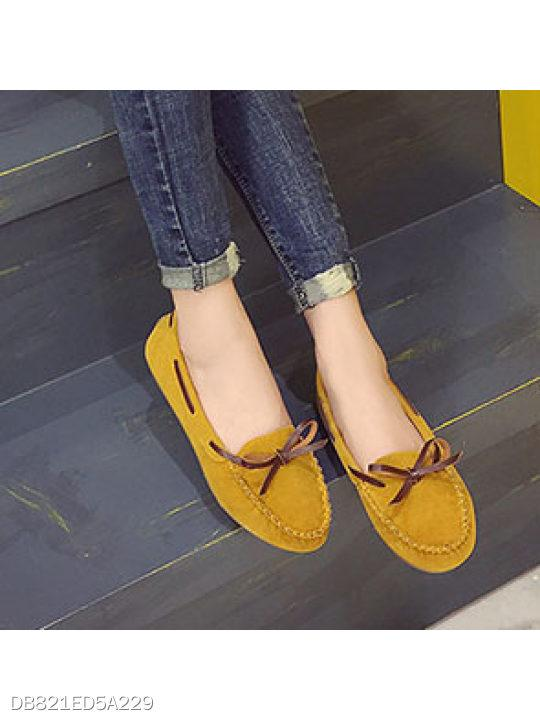 Color Block Faux Leather Round Toe Casual Flat & Loafers