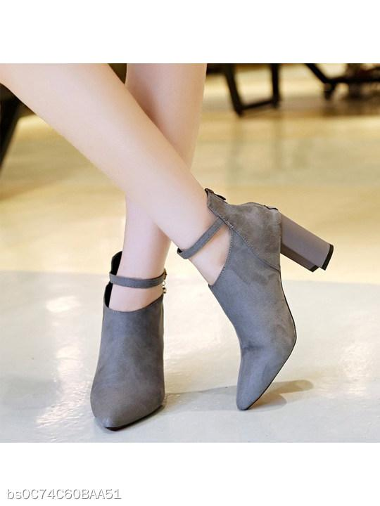 Plain Chunky High Heeled Velvet Point Toe Date Short High Heels Boots
