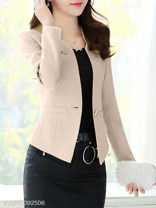 V Neck Single Button Plain Blazers