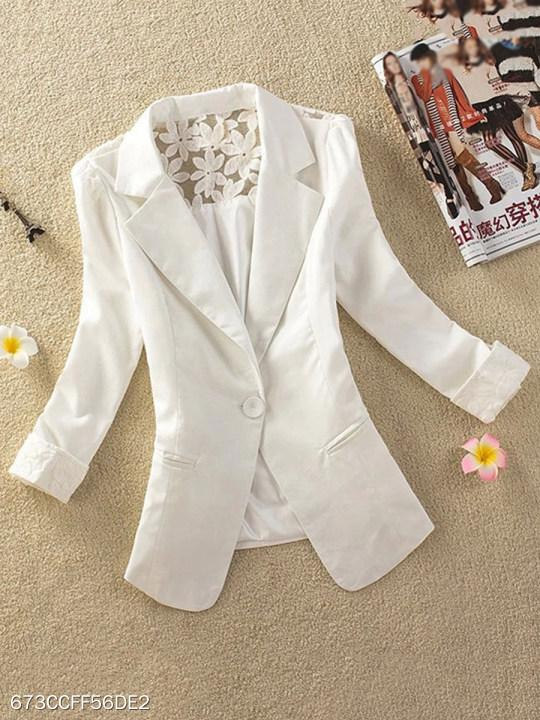 Notch Lapel Patchwork Plain Blazer
