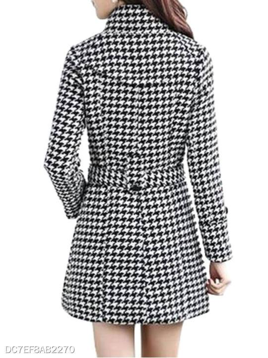 Band Collar Double Breasted Belt Houndstooth Coats