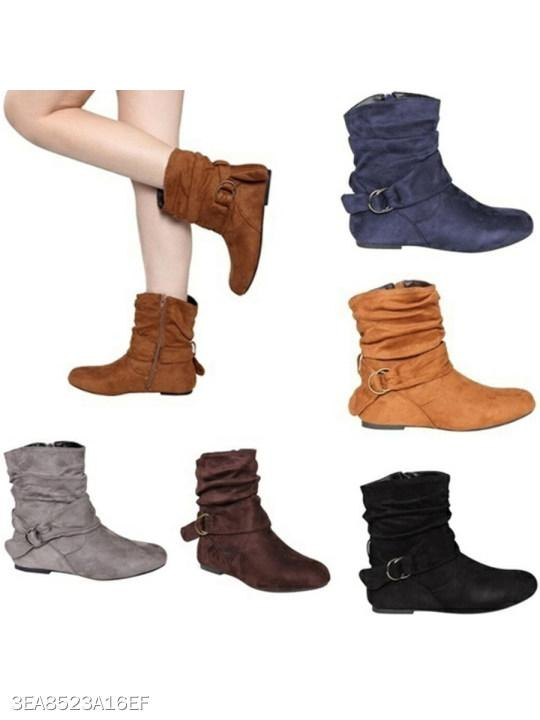Plain Invisible Low Heeled Velvet Round Toe Casual Short Flat Boots