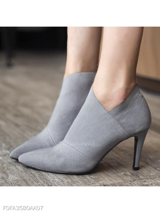 Plain Stiletto High Heeled Point Toe Date Short High Heels Boots