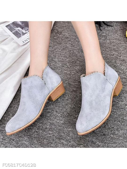 Plain Chunky Mid Heeled Faux Suede Round Toe Date Outdoor Ankle Boots