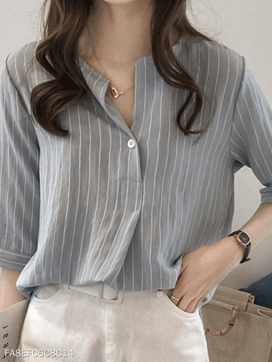 V Neck Stripes Blouses