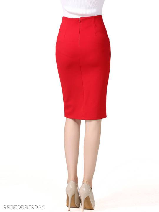 Slit Decorative Button Plain Pencil Midi Skirt