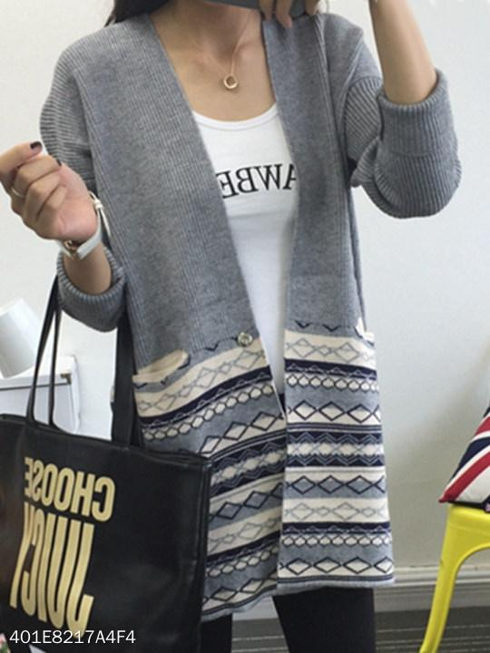 V Neck Patchwork Geometric Batwing Sleeve Knit Cardigans