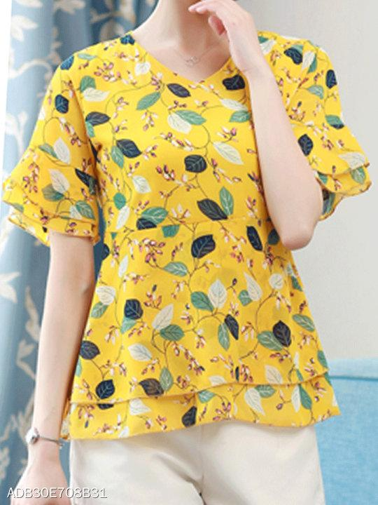 V Neck Patchwork Print Short Sleeve T-Shirts