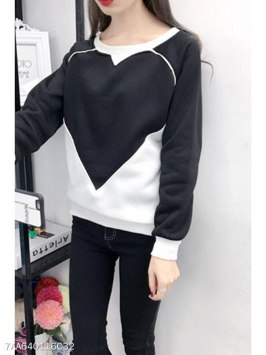 Crew Neck Patchwork Color Block Sweatshirts