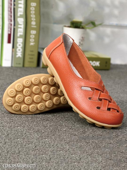 Soft Sole Hollow Out Solid Loafers