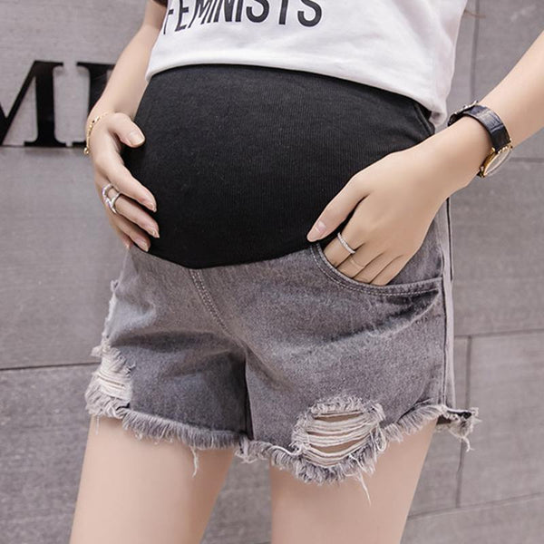 Maternity Ripped Fringed Denim Shorts