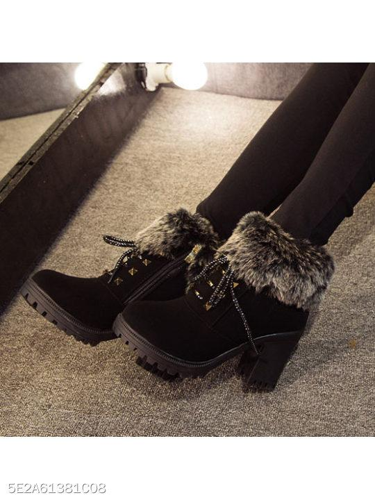 Chunky High Heeled Faux Leather Criss Cross Casual Boots