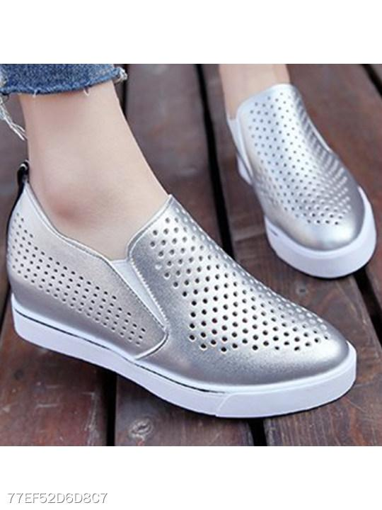 Hollow Out Low Heeled Round Toe Casual Sneakers