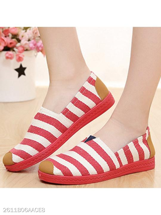 Striped Flat Round Toe Casual Flat & Loafers