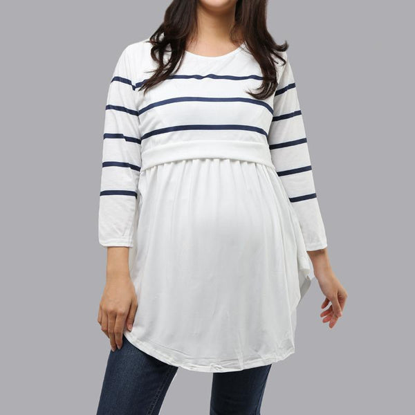 Stripe Splicing Stealth Forking Lactation T - Shirt