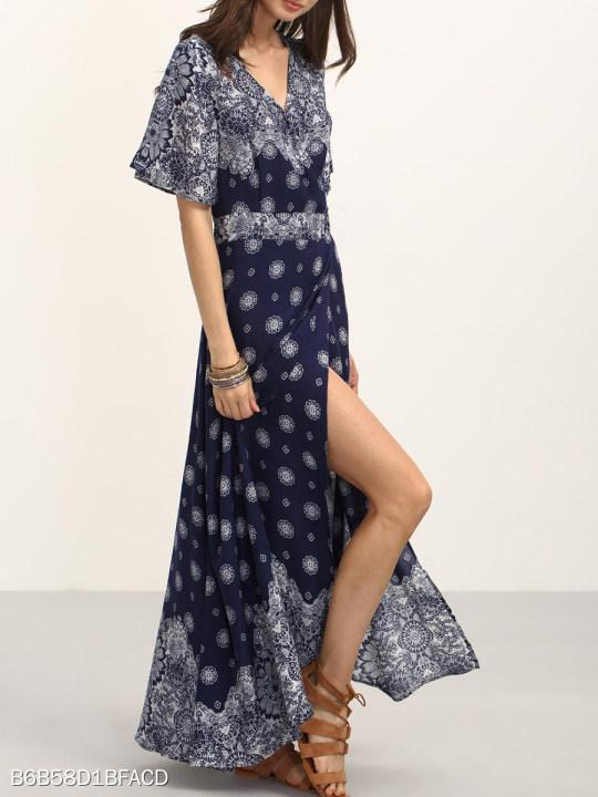V Neck Slit Print Maxi Dress