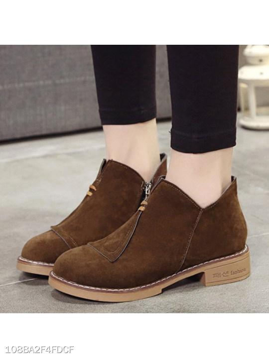 Plain Flat Velvet Round Toe Date Outdoor Ankle Boots