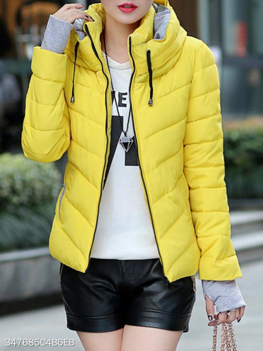 Band Collar Patchwork Plain Coat