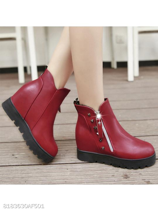 Plain Low Heeled Round Toe Date Outdoor Short Flat Boots