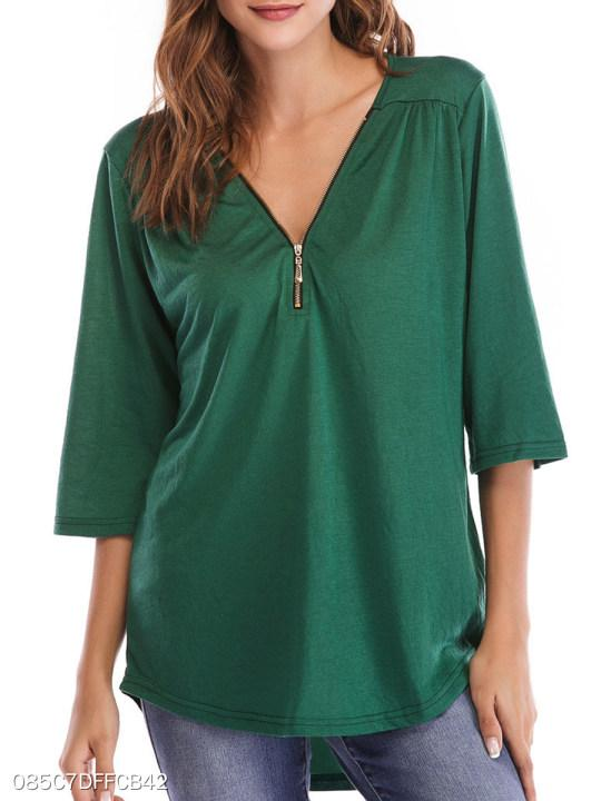 V Neck Loose Fitting Zipper Plain Long Sleeve T-Shirts