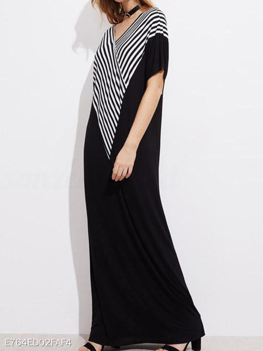 V Neck Striped Maxi Dress
