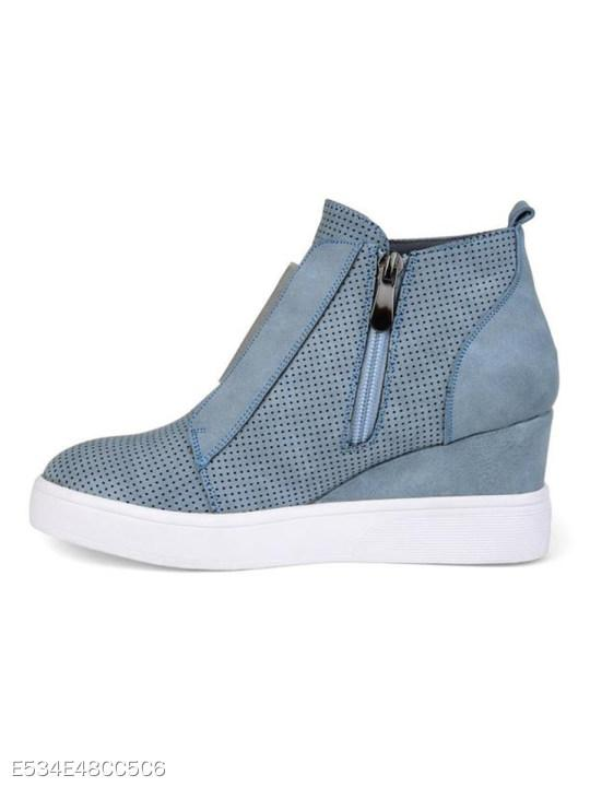 Plain Invisible High Heeled Velvet Round Toe Casual Sport Sneakers