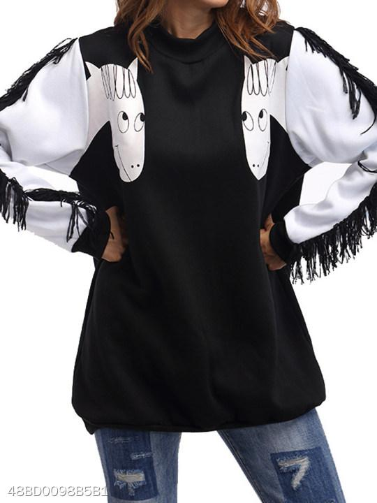 Round Neck Fringe Abstract Print Colouring Long Sleeve Sweatshirts